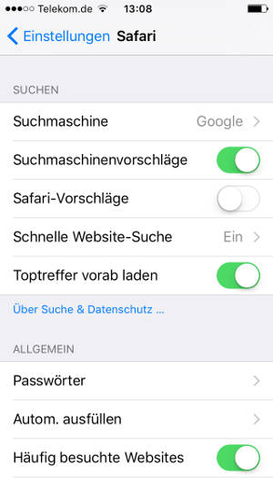 Safari-Settings