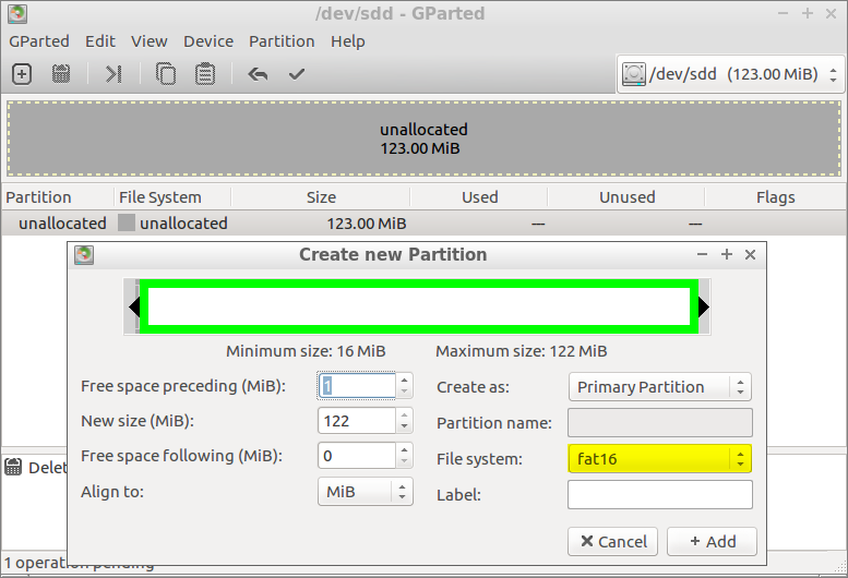 gparted FAT16 Partition