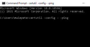 certutil -config - -ping