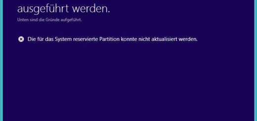 Die für das System reservierte Partition konnte nicht aktualisiert werden.