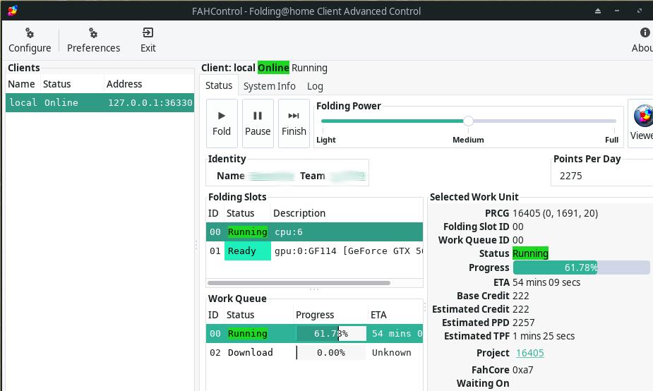 FAHControl Software Screenshot