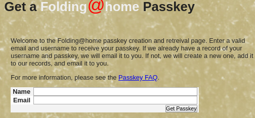 Folding@home Passkey Seite